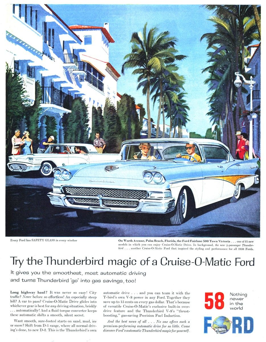 Ford Cruise-O-Matic Print Ad 1958 Thunderbird