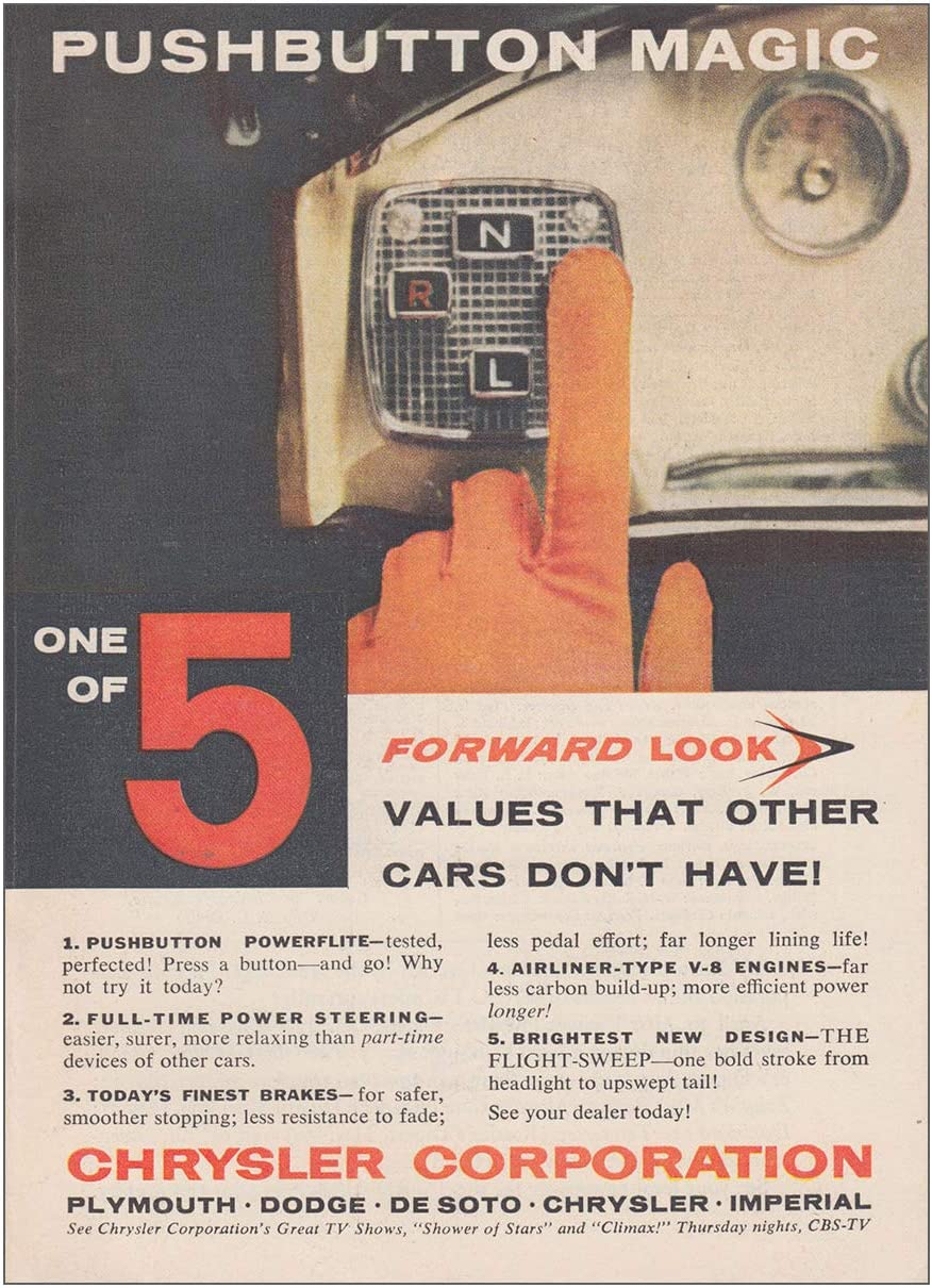 Chrysler TorqueFlite Pushbutton Print Ad Forward Look Virgil Exner